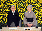 August 15, 2014, Tokyo, Japan - Japan observes the 69th enniversary of the nation's surrender in World War II with Emperor Akihito and Empress Michiko attending a national ceremony for the war dead held at Japan Martial Arts Hall in Tokyo on Friday, August 15, 2014. (Photo by Kaku Kurita/AFLO) FYJ -mis-