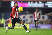 1st November 2017, St. Andrews Stadium, Birmingham, England; EFL Championship football, Birmingham City versus Brentford; Florian Jozefzoon of Brentford runs the ball down as it goes back to the Birmingham City keeper