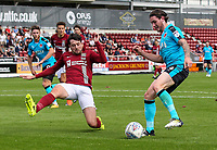 Fleetwood Town's Aiden O'Neill competing with Northampton Town's Brendan Moloney <br /> <br /> Photographer Andrew Kearns/CameraSport<br /> <br /> The EFL Sky Bet League One - Northampton Town v Fleetwood Town - Saturday August 12th 2017 - Sixfields Stadium - Northampton<br /> <br /> World Copyright &copy; 2017 CameraSport. All rights reserved. 43 Linden Ave. Countesthorpe. Leicester. England. LE8 5PG - Tel: +44 (0) 116 277 4147 - admin@camerasport.com - www.camerasport.com