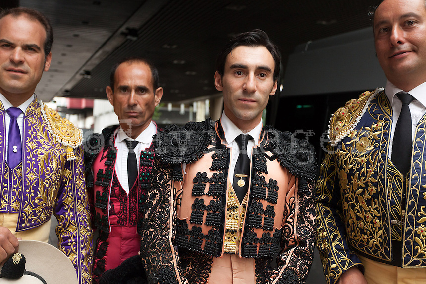 Fernando Cruz with his bullfighter''s assistant' before leaving the hotel to go to the Bullfight Virgen de la Paloma festivity