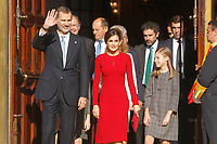MADRID, SPAIN-December 06: King Juan Carlos, King Felipe, Queen Letizia, Queen Sof&iacute;a, Princess Leonor and Princess Sofia attend the celebration of the 40 anniversary of the constitution at the national congress on December 3, 2018 in Madrid, Spain  December06, 2018.  ***NO SPAIN***<br /> CAP/MPI/RJO<br /> &copy;RJO/MPI/Capital Pictures