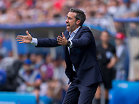 REIMS,  - JUNE 24: Jorge Vilda yells to his team during a game between NT v Spain and  at Stade Auguste Delaune on June 24, 2019 in Reims, France.