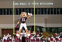 Bully leading a cheer during pregame. <br />