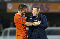 Millwall manager Neil Harris celebrates with Alex Pearce of Millwall during AFC Wimbledon vs Millwall, Emirates FA Cup Football at the Cherry Red Records Stadium on 16th February 2019