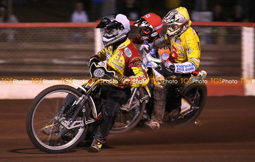 Heat 9: Daniel Nermark (black & white), Ty Proctor (red) and Aaron Summers (yellow) - Lakeside Hammers vs Birmingham Brummies, Elite League Speedway at the Arena Essex Raceway, Purfleet - 02/09/11 - MANDATORY CREDIT: Rob Newell/TGSPHOTO - Self billing applies where appropriate - 0845 094 6026 - contact@tgsphoto.co.uk - NO UNPAID USE.