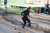 FIERLJEPPEN: BURGUM: april 2015, Fierljeptraining, Hilianne van der Wal weer in training na ernstige blessure, ©foto Martin de Jong