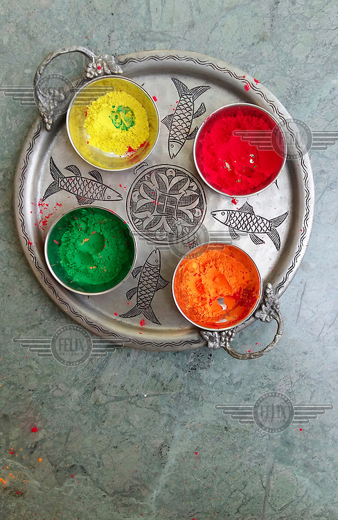 Coloured powders which will be thrown at revellers during festivities for Holi, the annual festival which is a riot of colour and frenzied celebration of spring, fertility and the triumph of good over evil.