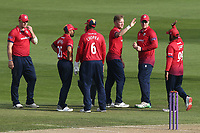 Sam Cook of Essex celebrates with his team mates after taking the wicket of Daniel Bell-Drummond during Essex Eagles vs Kent Spitfires, Royal London One-Day Cup Cricket at The Cloudfm County Ground on 6th June 2018