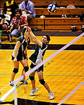 14 November 2010: Vermont Commons School Junior, and team co-captain Lex Jackson in action during the 2010 Vermont State Volleyball Championships at Saint Michael's College in Colchester, Vermont. Participating schools included: the Enosburg Falls Hornets, the Lake Region Union Rangers, the Lyndon Institute Vikings, and the VCS Flying Turtles. The Girls Championship went to Vermont Commons School for the third consecutive year, while the Boys Championship went to Lake Region Union High School for the first time. Mandatory Credit: Ed Wolfstein Photo.