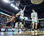 SIOUX FALLS, SD - MARCH 8: Matt Holba #13 passes the ball to teammate Dylan Carl #11 of the PFW Mastodons around. The defense of Filip Rebraca #12 of the North Dakota Fighting Hawks at the 2020 Summit League Basketball Championship in Sioux Falls, SD. (Photo by Richard Carlson/Inertia)