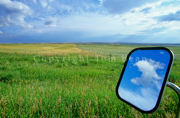 Great Plains vista with rear view mirror east of Sunburst, Montana, AGPix_0349.