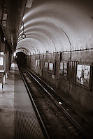 Images of the tunnel at the Red Line CTA Station in Downtown Chicago.