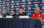 10 December 2005: Matt Wootton (second from right) answers a question, Jeff Rowland (l), Lance Watson (second from left), head coach Jeremy Fishbein (r). The University of New Mexico Lobos held a press conference the day before playing in the NCAA Men's College Cup, the Division I Championship soccer game, at SAS Stadium in Cary, NC..