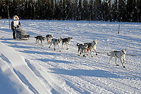 Sunday, February 25th, Knik, Alaska.  Jr. Iditarod musher Ava Lindner on the home stretch about a mile from the finish line