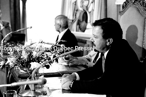 August 23, 1985 File Photo - Guy Descary, Mayor, lachine (L)  and Jacques Brassard, Environment Minister, Quebec (R) unveil the Project Archipel during a news conference at Lachine City Hall.<br /> <br /> The project proposed a vision for the future of al rivers, lake and small island surrounding Montreal island