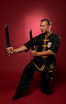 SAN DIEGO, CA - SEPTEMBER 16:  Sifu Guiseppe Aliotta, 7th Degree Blackbelt, goes through his movements with his butterfly swords on September 16, 2012 in Encinitas, California.(Photo by Donald Miralle)  *** Local Caption ***