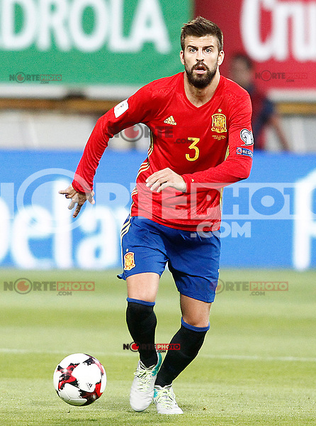 Spain's Gerard Pique during FIFA World Cup 2018 Qualifying Round match. September 5,2016.(ALTERPHOTOS/Acero)