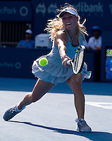 Caroline Wozniacki (DEN) against Na Li (CHN) in the first round of the Ladies Singles. Na Li beat Wozniacki 2-6 6-3 6-2  ..International Tennis - Medibank International Sydney - MON 11 Jan 2010 - Sydney Olympic Park  Tennis Centre- Sydney - Australia ..© Frey - AMN Images, 1st Floor, Barry House, 20-22 Worple Road, London, SW19 4DH.Tel - +44 20 8947 0100.mfrey@advantagemedianet.com