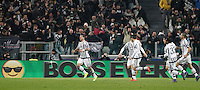 Calcio, andata degli ottavi di finale di Champions League: Juventus vs Bayern Monaco. Torino, Juventus Stadium, 23 febbraio 2016. <br /> Juventus' Stefano Sturaro, left, celebrates with teammates after scoring the equalizer goal during the Champions League first leg round of 16 football match between Juventus and Bayern at Turin's Juventus Stadium, 23 February 2016. The game ended 2-2.<br /> UPDATE IMAGES PRESS/Isabella Bonotto