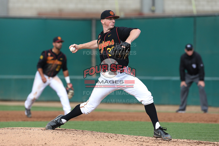 Wyatt Strahan #33 of the USC Trojans pitches against the Cal Poly Mustangs at Dedeaux Field on March 2, 2014 in Los Angeles, California. Cal Poly defeated USC, 5-1. (Larry Goren/Four Seam Images)
