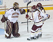 Corinne Boyles (BC - 29), Emily Field (BC - 15), Meagan Mangene (BC - 24) - The Boston College Eagles defeated the Northeastern University Huskies 3-0 on Tuesday, February 11, 2014, to win the 2014 Beanpot championship at Kelley Rink in Conte Forum in Chestnut Hill, Massachusetts.