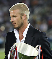 David Beckham moments before presenting the SUM U-17 trophy to the U-17 D. C. United team at halftime of the MLS All-Star game. The MLS All-Stars defeated Celtic FC 2-0 in the Sierra Mist MLS All-Star Game at Dick's Sporting Goods Park, Commerce City, Colorado, on July 19, 2007.