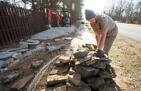 NWA Democrat-Gazette/BEN GOFF @NWABENGOFF<br /> Kyle Copeland works with a crew from Rock Solid Trail Contracting, LLC, to build new flow features Friday, Jan. 5, 2018, on the Ozone trail in Bentonville. The new features will make a more interesting line for riders on the relatively straight and flat section of the trail, part of the Slaughter Pen mountain bike trail system, where it runs beside Northwest A Street.