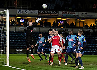 Fleetwood Town's Paddy Madden (centre) looks on as  Wycombe Wanderers' goalkeeper Ryan Allsop punches clear<br /> <br /> Photographer Andrew Kearns/CameraSport<br /> <br /> The EFL Sky Bet League One - Wycombe Wanderers v Fleetwood Town - Tuesday 11th February 2020 - Adams Park - Wycombe<br /> <br /> World Copyright © 2020 CameraSport. All rights reserved. 43 Linden Ave. Countesthorpe. Leicester. England. LE8 5PG - Tel: +44 (0) 116 277 4147 - admin@camerasport.com - www.camerasport.com