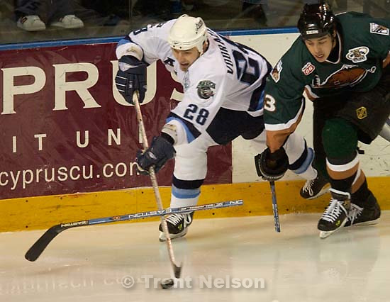 West Valley City - Utah Grizzlies vs. Houston Aeros Tuesday evening at the E Center.<br />