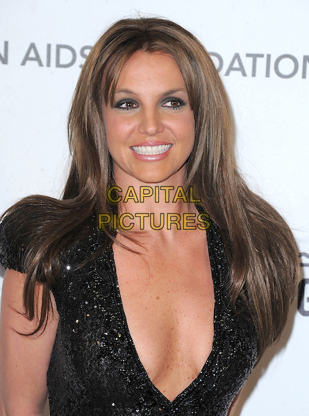 Britney Spears .The 21st Annual Elton John AIDS Foundation Academy Awards Viewing Party held at The City of West Hollywood Park in West Hollywood, California, USA..February 24th, 2013.oscars headshot portrait black sequins sequined plunging neckline cleavage dyed brown hair brunette blue eyeshadow eyeliner make-up beauty smiling .CAP/DVS.©DVS/Capital Pictures.
