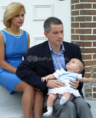 Gov. James McGreevey, wife Dina Matos McGreevey and daughter Morag photographed while filming a public service announcement for television in Trenton, NJ. August, 2003. © Scott Weiner /MediaPunch.