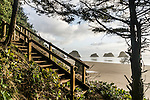 Trail and stairway to the beach on the Oregon Coast of the United States.