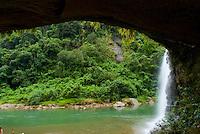 Falls on Upper Navua River, River canyon and rainforest and waterfalls, Highlands of Viti Levu Island, Upper Navua River Conservation Area, Fiji