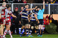 David Sisi of Bath Rugby celebrates a turn-over with team-mate Guy Mercer. Anglo-Welsh Cup match, between Bath Rugby and Gloucester Rugby on January 27, 2017 at the Recreation Ground in Bath, England. Photo by: Patrick Khachfe / Onside Images