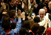 Papa Francesco saluta i fedeli al termine dell'Udienza Generale del mercoledi' in aula Paolo VI in Vaticano, 28 dicembre 2016.<br /> Pope Frances greets faithful at the end of his weekly general audience in Paul VI Hall at the Vatican on December 28, 2016.<br /> UPDATE IMAGES PRESS/Isabella Bonotto<br /> <br /> STRICTLY ONLY FOR EDITORIAL USE