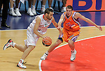 Caja Laboral Baskonia's Fernando San Emeterio (l) and Power Electronics Valencia's Nando De Colo during ACB Supercup Semifinal match.September 24,2010. (ALTERPHOTOS/Acero)