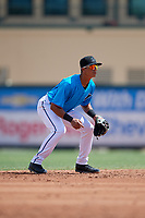 Miami Marlins shortstop José Salas (5) during an Instructional League game against the Washington Nationals on September 25, 2019 at Roger Dean Chevrolet Stadium in Jupiter, Florida.  (Mike Janes/Four Seam Images)