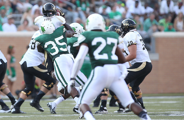 DENTON, TX - AUGUST 31: North Texas Mean Green linebacker Zach Orr (35) of the North Texas Mean Green Football vs Idaho Vandals at Apogee Stadium in Denton on August 31, 2013 in Denton, Texas. Photo by Rick Yeatts