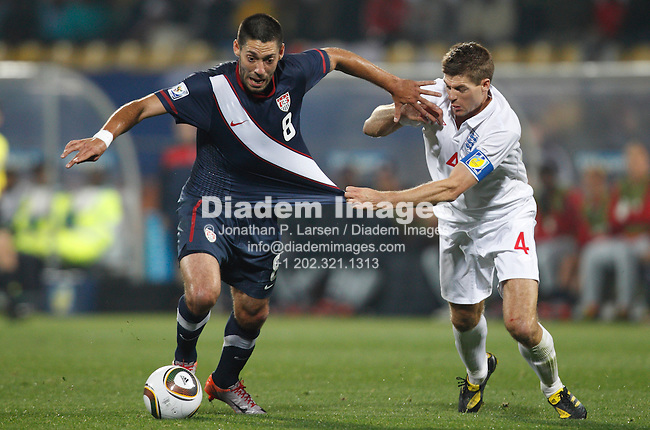 RUSTENBURG, SOUTH AFRICA - JUNE 12:  England captain Steven Gerrard (4) tries to contain Clint Dempsey of the United States (8) during a 2010 FIFA World Cup soccer match June 12, 2010 in Rustenburg, South Africa.  NO mobile use.  Editorial ONLY.(Photograph by Jonathan P. Larsen)