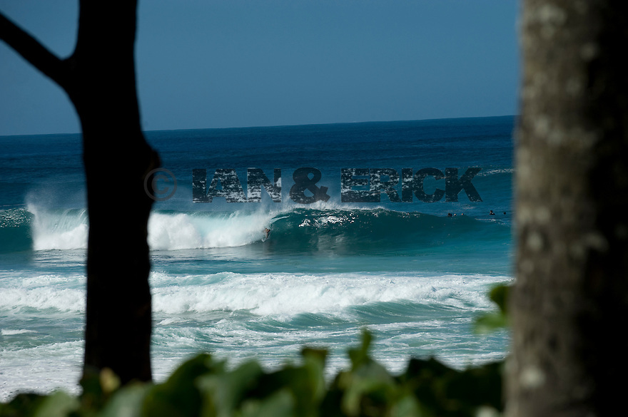 Unknown Bodysurfer at Pipeline on the Northshore of Oahu in Hawaii.