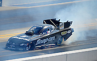 Apr. 14, 2012; Concord, NC, USA: NHRA funny car driver Cruz Pedregon during qualifying for the Four Wide Nationals at zMax Dragway. Mandatory Credit: Mark J. Rebilas-