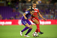 Orlando, FL - Tuesday August 08, 2017: Marta Vieira Da Silva, Mallory Pugh during a regular season National Women's Soccer League (NWSL) match between the Orlando Pride and the Washington Spirit at Orlando City Stadium.
