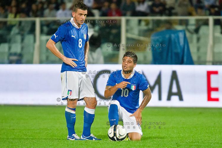 PESCARA (PE) 12/10/2012: QUALIFICAZIONE EUROPEI UNDER 21 ITALIA - SVEZIA. PARTITA VINTA DALL'ITALIA CON UN GOAL DI IMMOBILE. NELLA FOTO FLORENZI E INSIGNE ITALIA  FOTO ADAMO DI LORETO