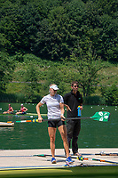 Lucerne, SWITZERLAND, 12th July 2018, Friday  FISA World Cup series, No.3, Lake Rotsee, Lucerne,  Sanita PUSPURE, W1X, IRL , prepares to boat, with Coach, David McGOWAN, Photographer Karon PHILLIPS