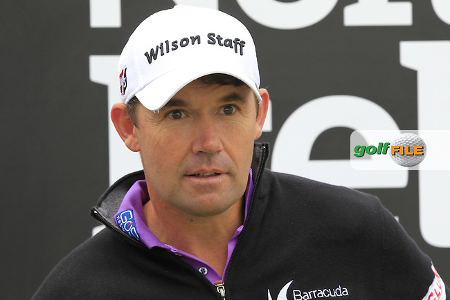 Padraig HARRINGTON (IRL) on the 1st tee during the Pro-Am of the 2015 Dubai Duty Free Irish Open, Royal County Down Golf Club, Newcastle Co Down, Northern Ireland. 27/05/2015 <br /> Picture Eoin Clarke, www.golffile.ie
