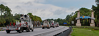 Contracted mutual assistance crews driving into Florida before Hurricane Dorian in Fla. on August 31, 2019.