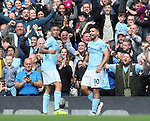Sergio Aguero of Manchester City celebrates scoring with Gabriel Jesus of Manchester City  during the premier league match at the Etihad Stadium, Manchester. Picture date 9th September 2017. Picture credit should read: David Klein/Sportimage