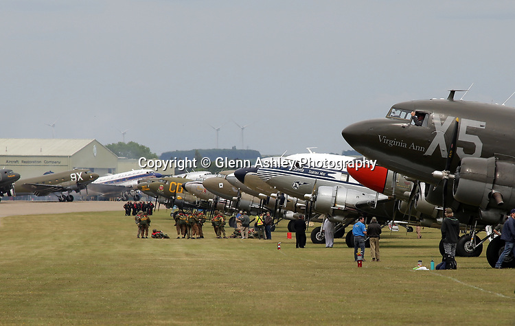 Dakotas gather for the 75th Anniversary of the D-Day Landings, Duxford, United Kingdom, 5th June 2019. Photo by Glenn Ashley Photography