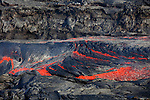 Lava flow forming lava river from Fogo Volcano eruption, Cape Verde