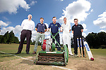 SWALEC ambassador Robert Croft with Huw Lock, SWALEC, Gavin Hawkey, Cricket Wales and St Fagans cricketers Joe O'Gorman and Iori Moore<br /> <br /> St Fagans Cricket Club<br /> <br /> 24.07.13<br /> &copy;Steve Pope-Sportingwales